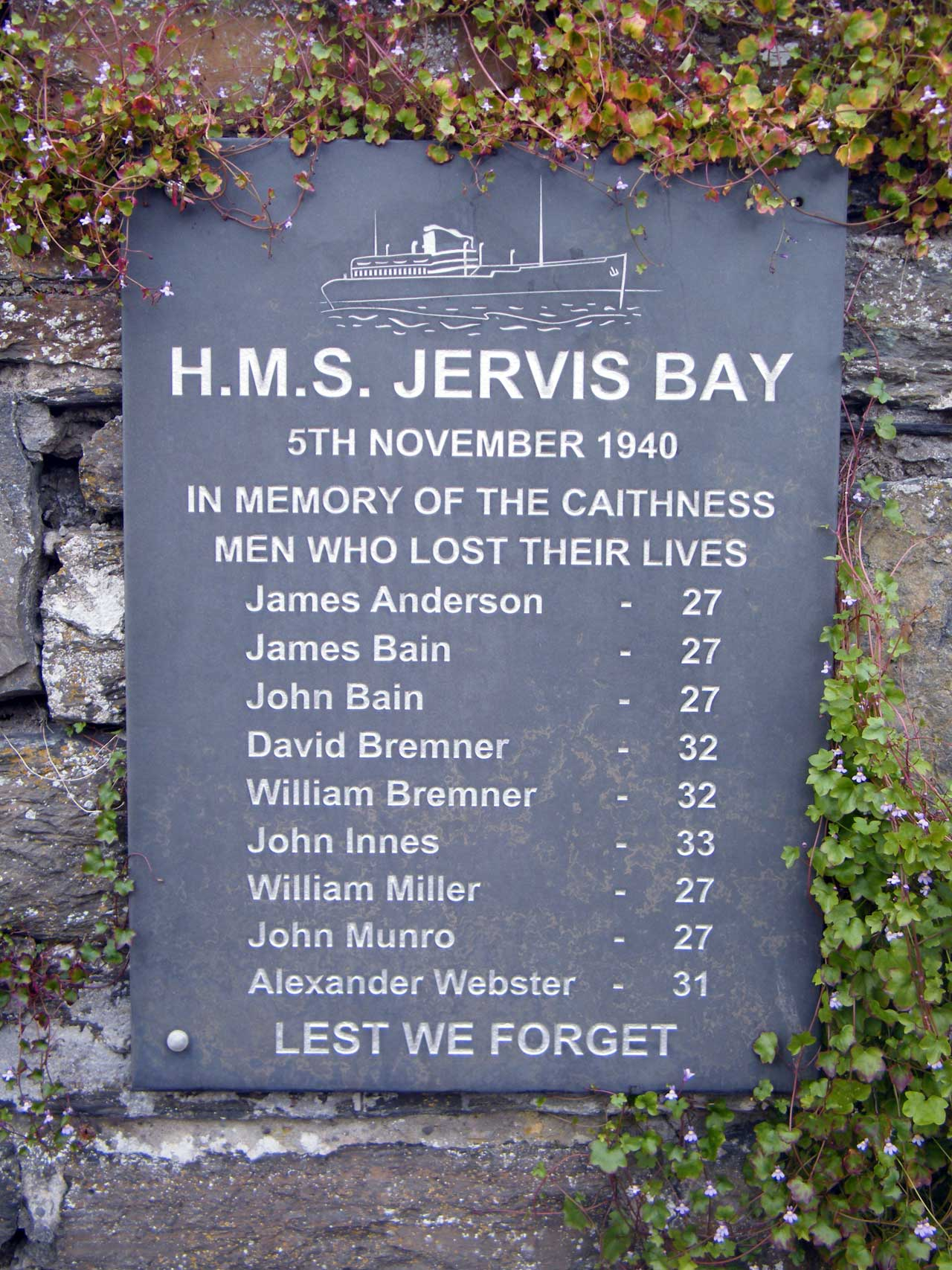 Photo: High Street, Wick - Memorial To Crew Of Jervis Bay