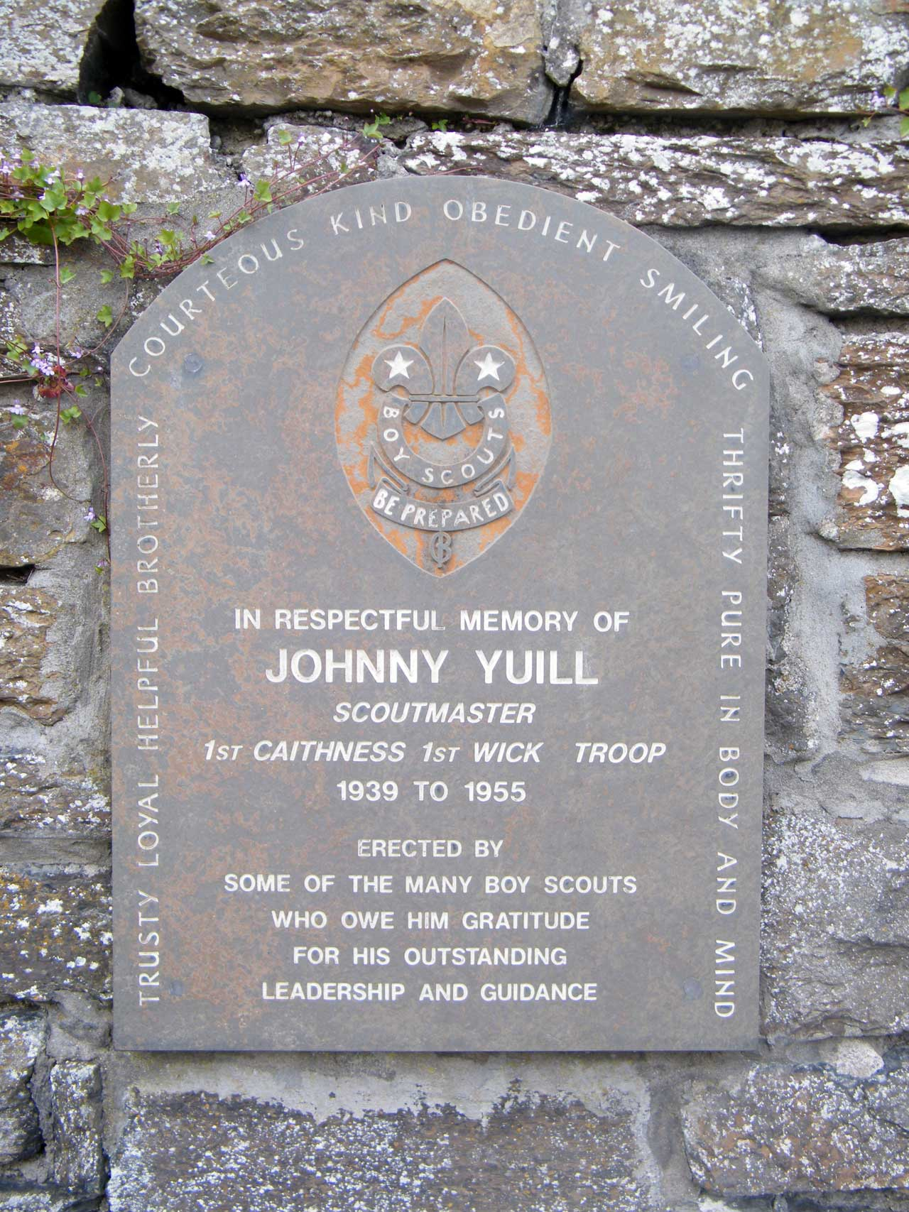 Photo: High Street, Wick - Memorial To Johnny Yuill a Scout Leader of Wick