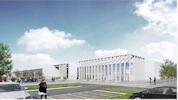 Drawing of front of new Wick High School