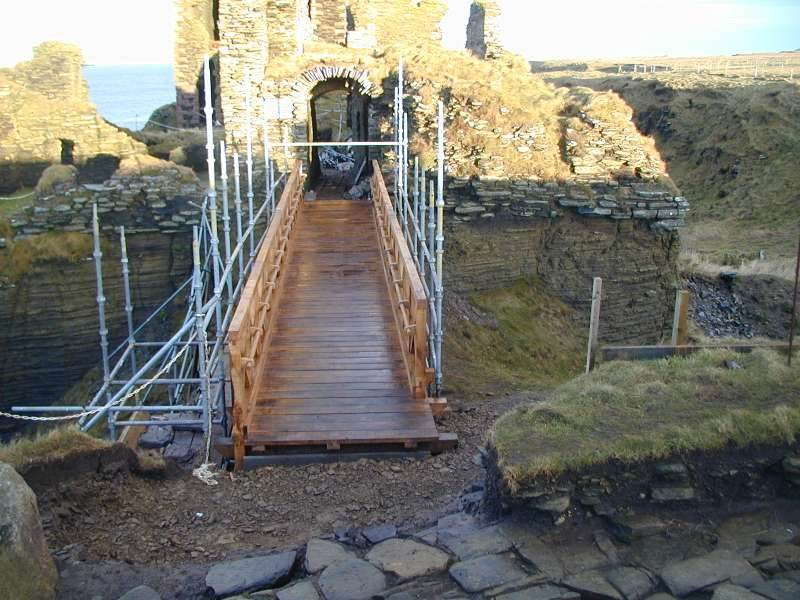 Photo: New Foot Bridge At Girnigoe Castle - February 2008