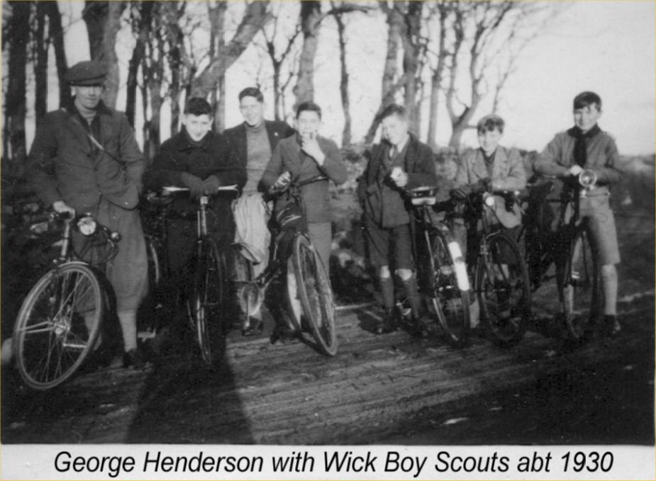 Photo: George Henderson With Wick Scouts On a Bike Trip Around 1930