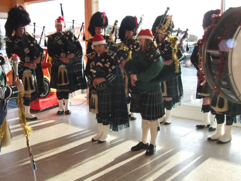 Photo: Pipe Band and Santa At Tesco