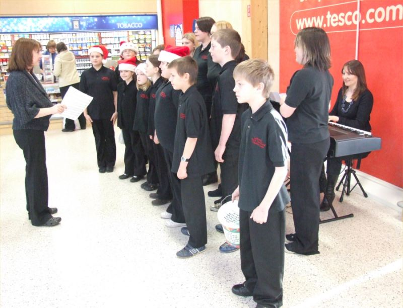 Photo: Caithness And Sutherland Childrens Choir Singing Carols At Tesco Wick