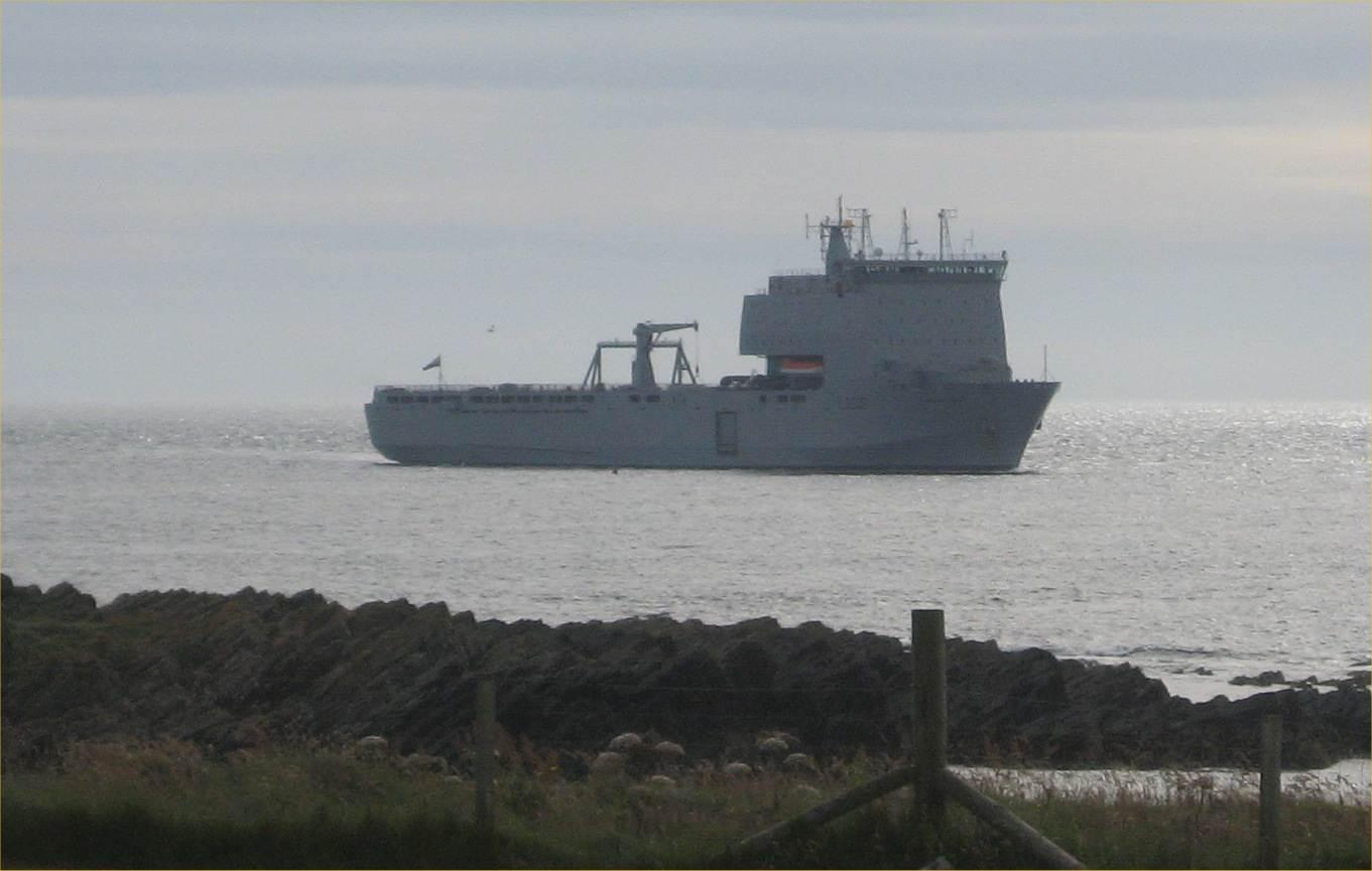Photo: RFA Mounts Bay At Papigoe, Caithness