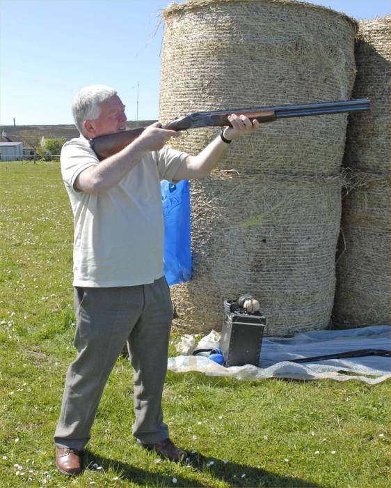 Photo: Bill Fernie Trying Clay Pigeon Shooting At Brough