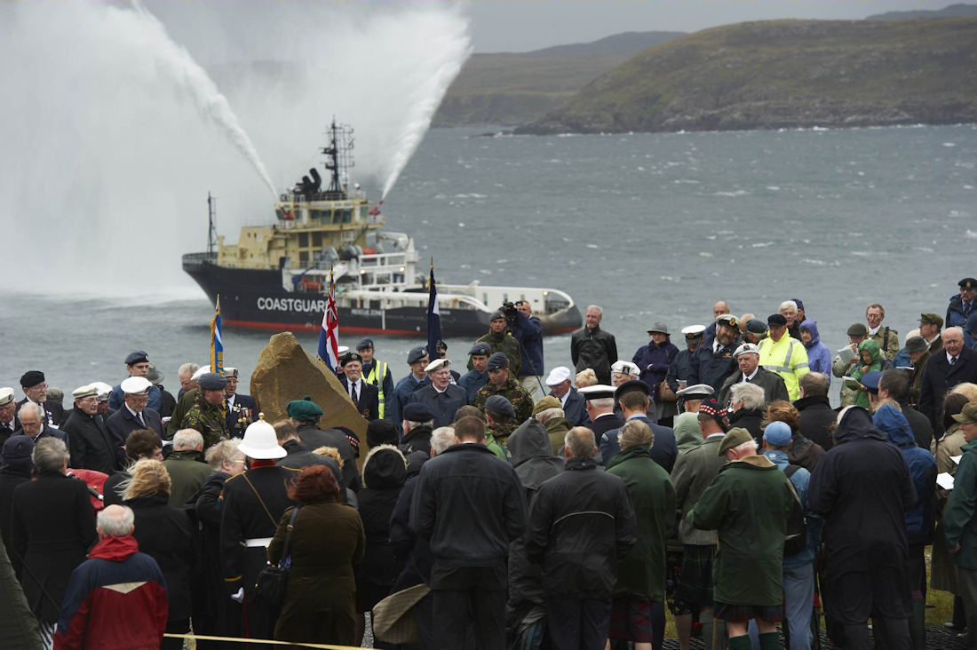 Photo: The Coastguard Tug honouring the Veterans during the Memorial Service at Cove, Wester Ross