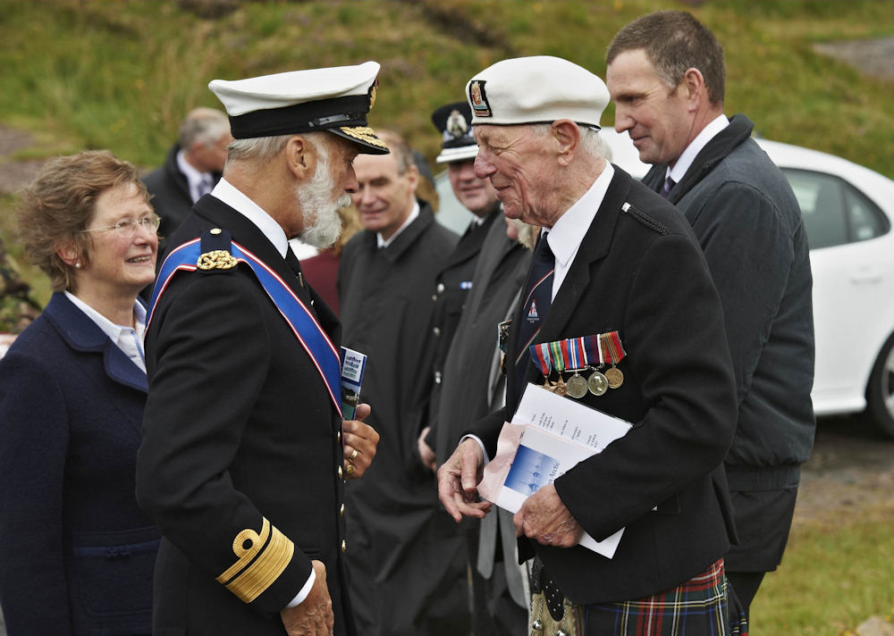 Photo: Lord Lieutenant Mrs Janet Bowen introduces HRH to Russian Arctic Convoy Club Chairman - Mr Jock Dempster