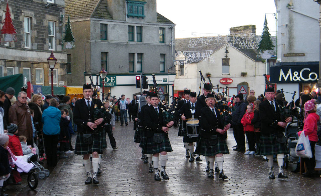 Photo: Wick Pipe Band In Christmas Spirit