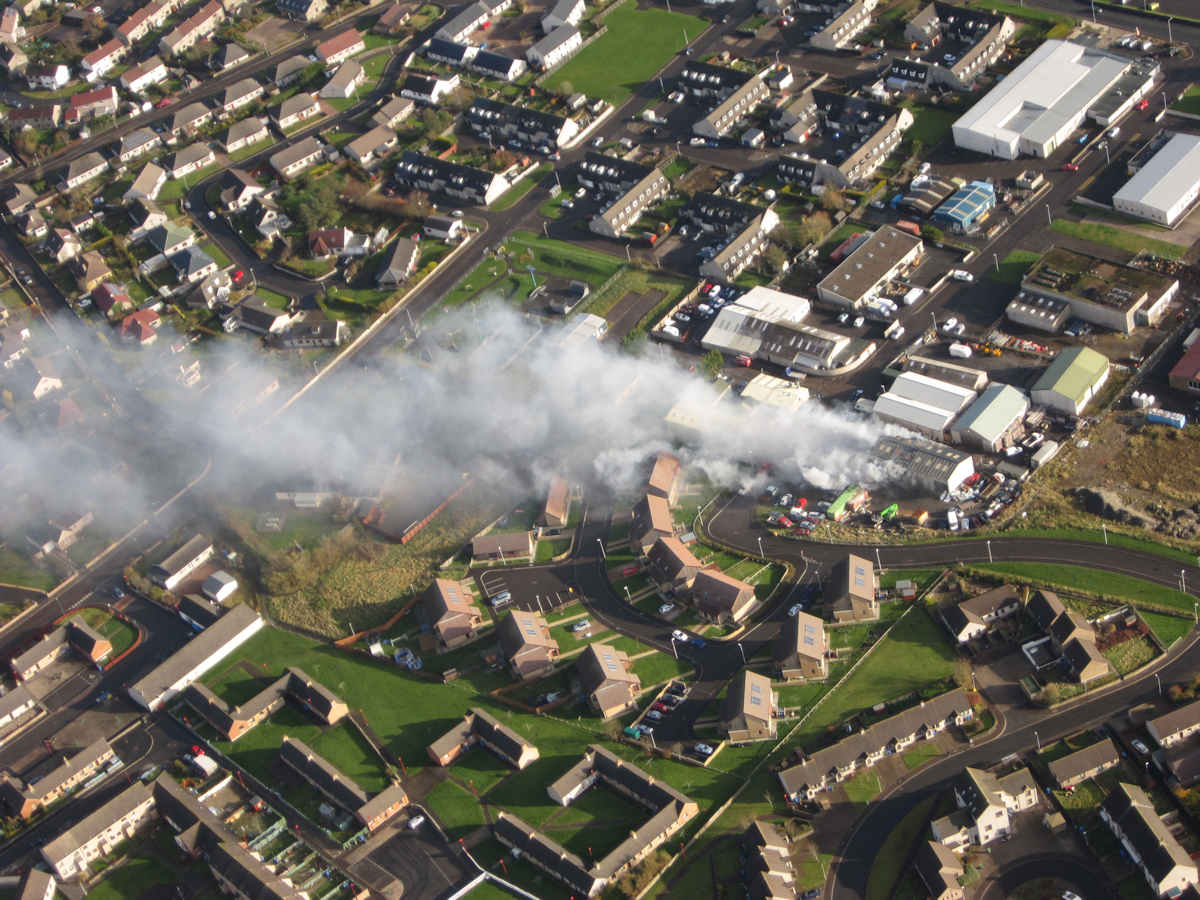 Photo: Ormlie Industrial Estate Fire From The Air