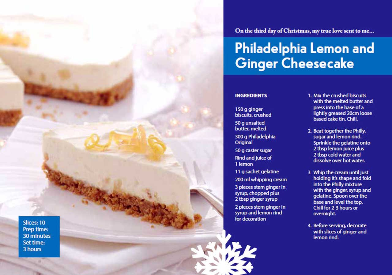 Photo: Third Day Of Christmas - Philadelphia Lemon and Ginger Cheesecake