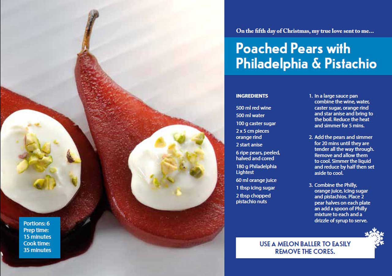 Photo: Fifth Day Of Christmas - Poached Pears with Philadelphia & Pistachio