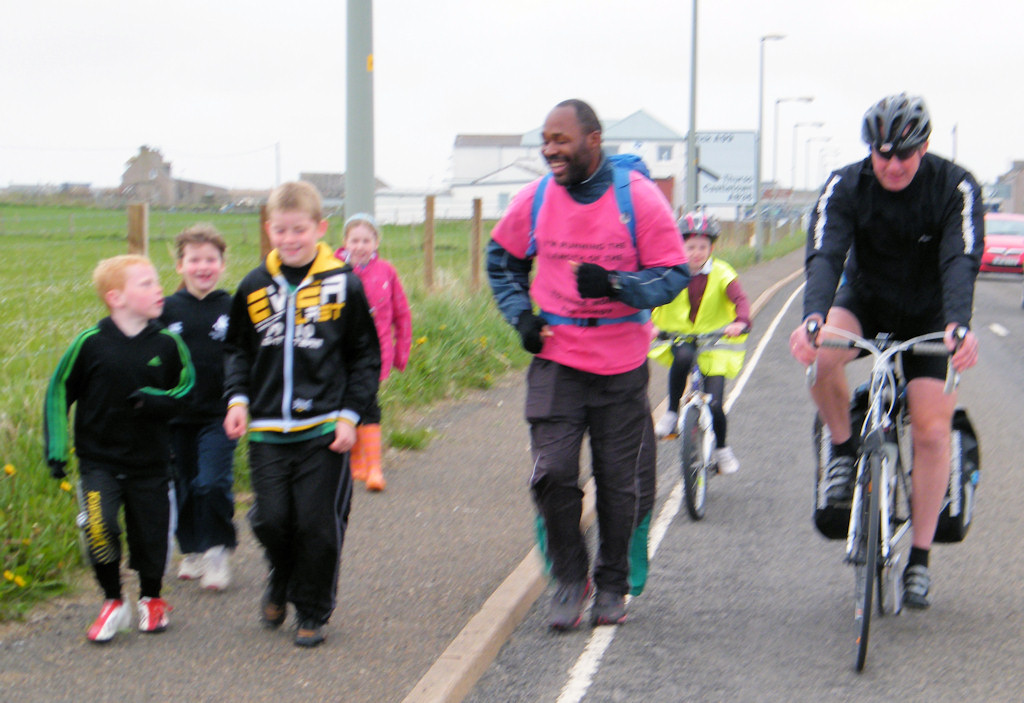Photo: Joe Heading Into John O'Groats With Canibsay School Children