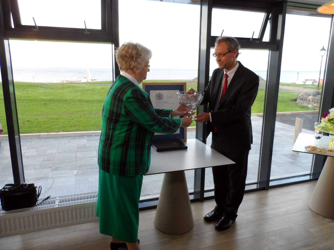 Photo: Lord Lieutenant Anne Dunnet Presenting the Queens Award to Prof. Ian Baikie