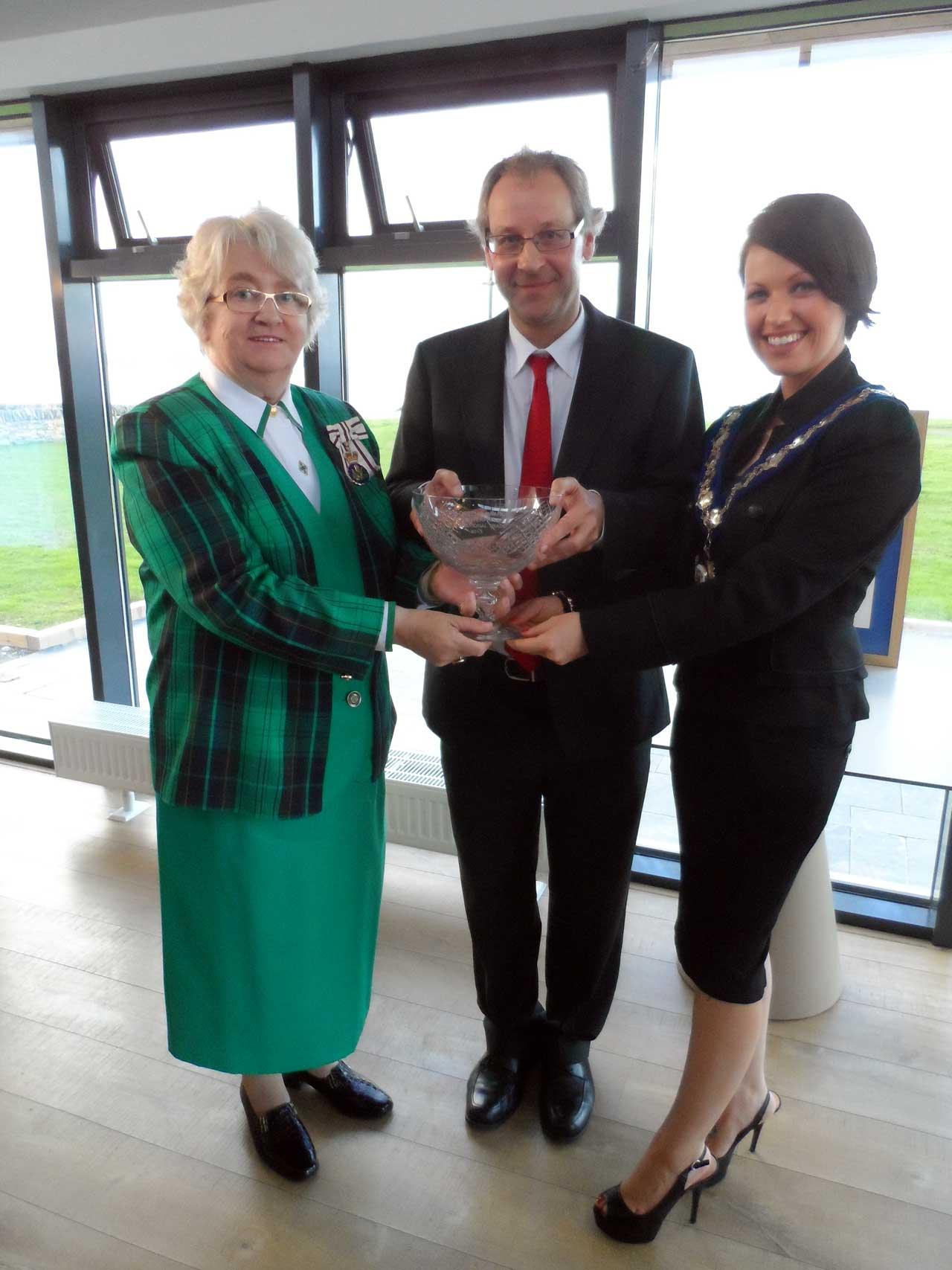 Photo: Lord Lieutenant Anne Dunnet, Prof. Ian Baikie, Civic Leader Councillor Gail Ross