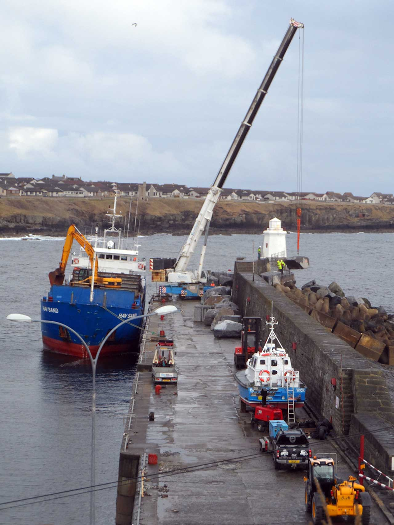 Photo: Reinforcing Rock Armour At Wick Harbour