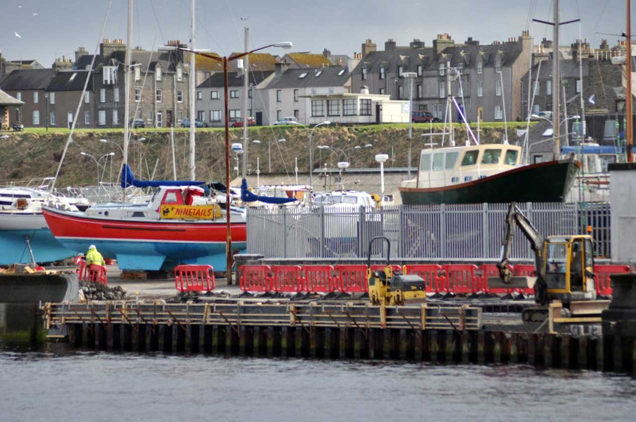 Photo: Wick Harbour Wall Repairs Ongoing