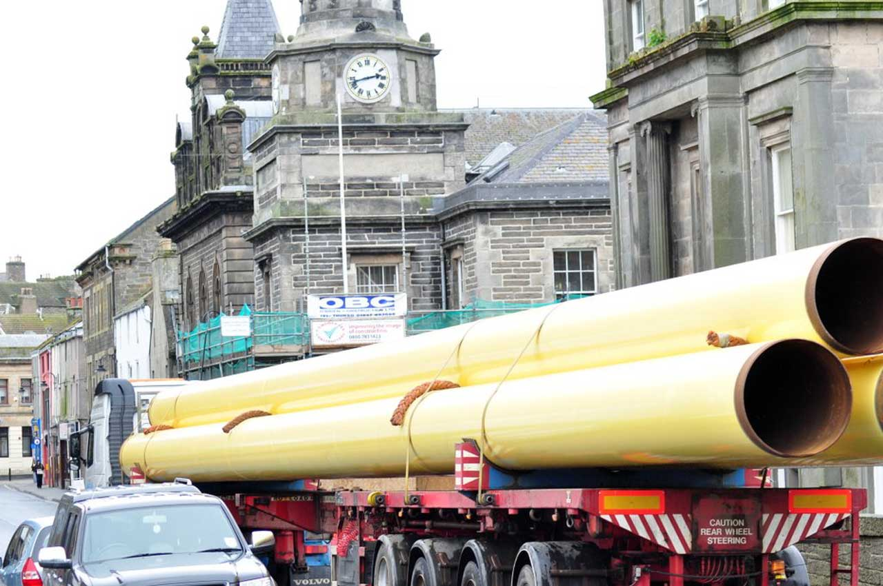 Photo: Even More Pipes Move Through Wick Bound For Wester Yard
