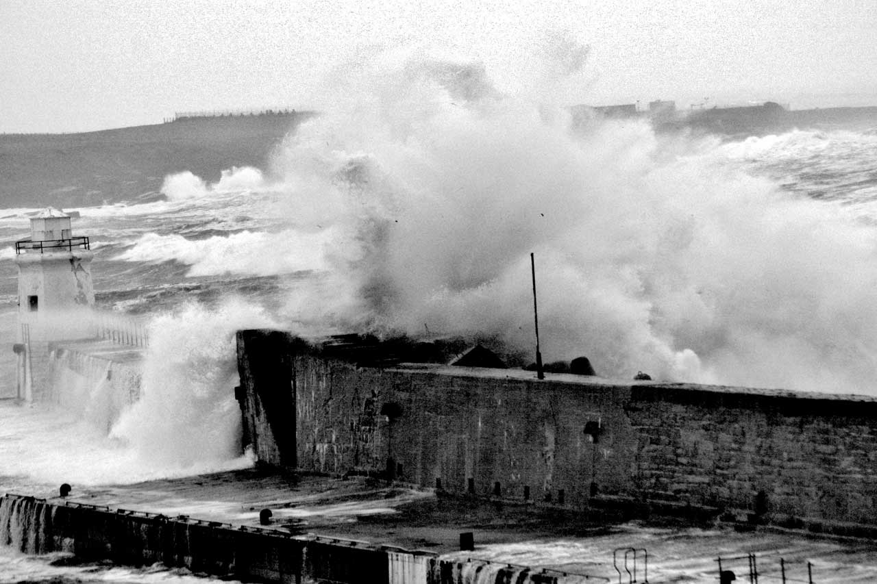 Photo: Sea Batters South Pier At Wick