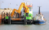 Green Isle and Lodesman at Gills Harbour carrying out work for the Meygen project