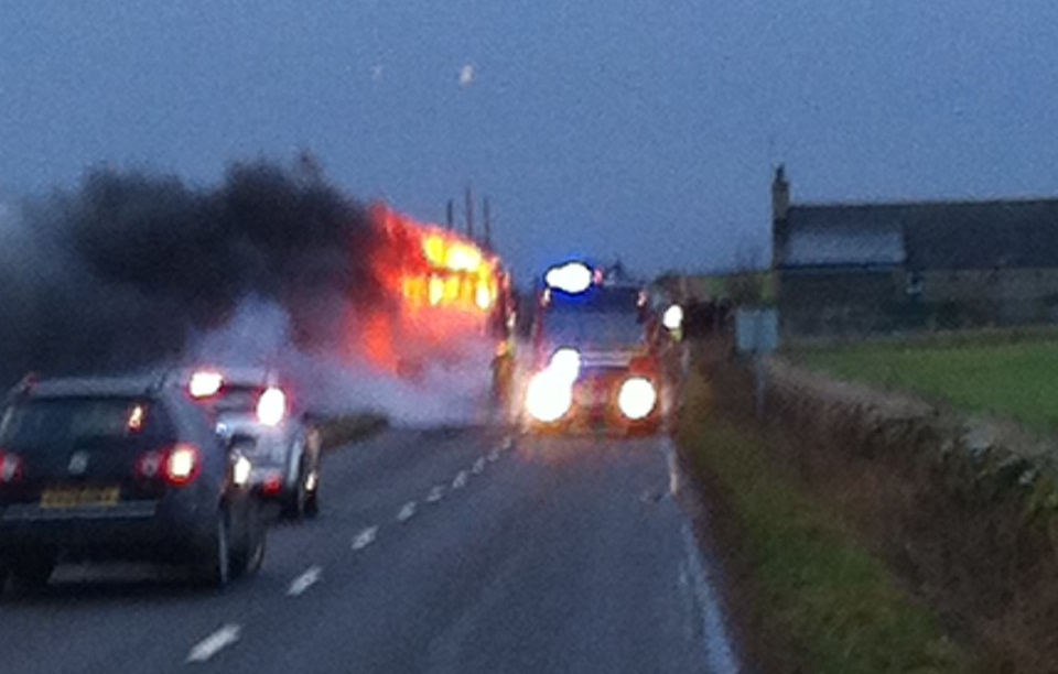 Photo: Keiss Bus To Wick High School Fire