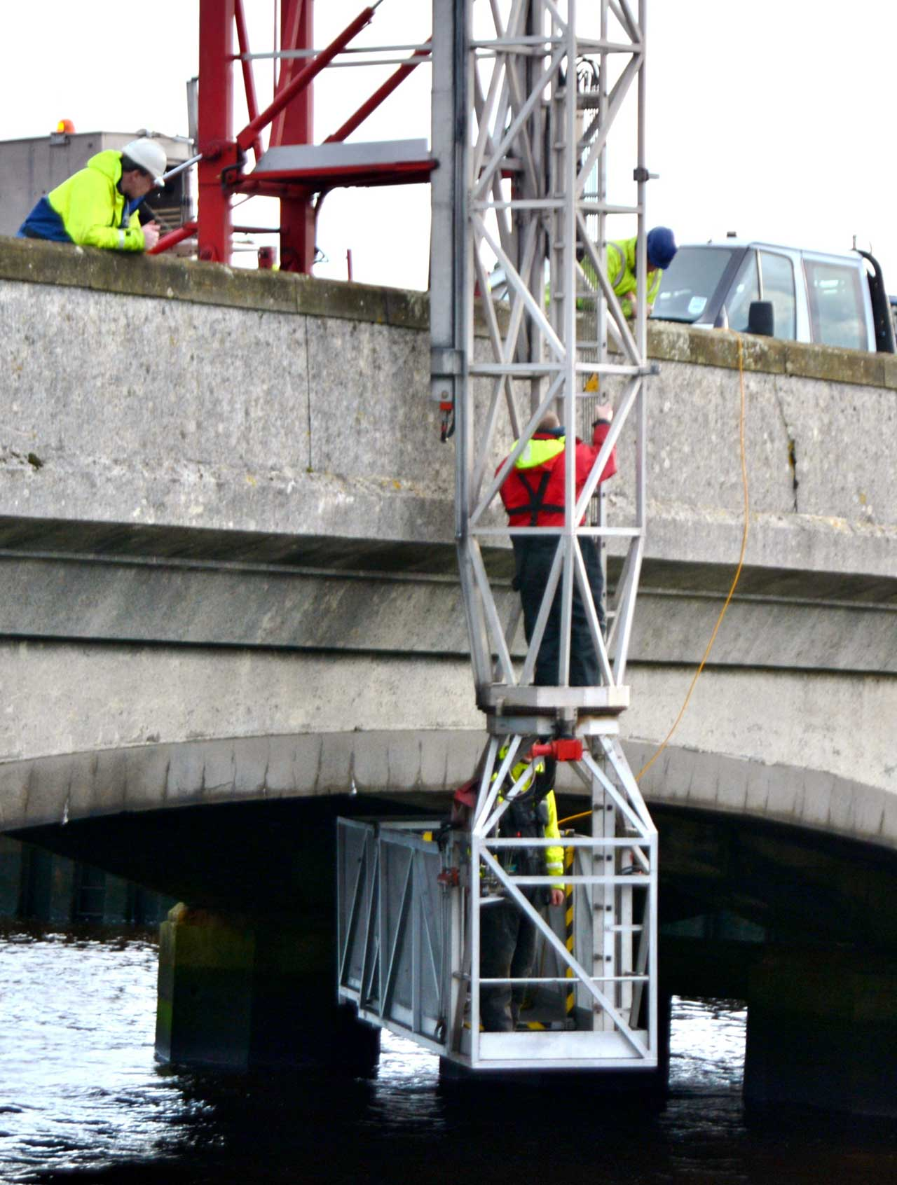Photo: Repairing Pipes Under Service Bridge, Wick