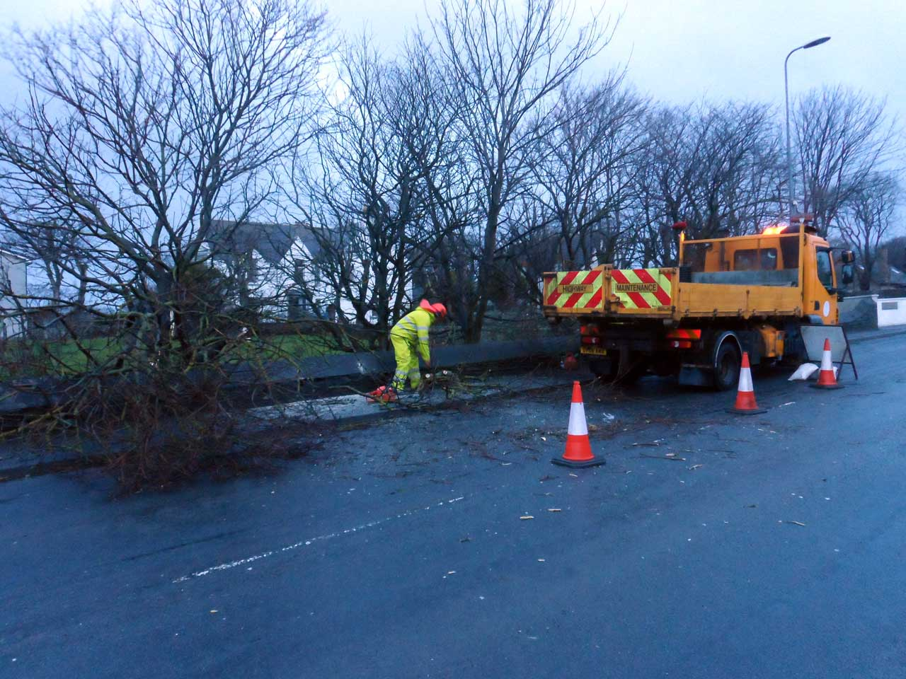 Photo: Council Workmen Clearing A Fallen Tree At George Street, Wick