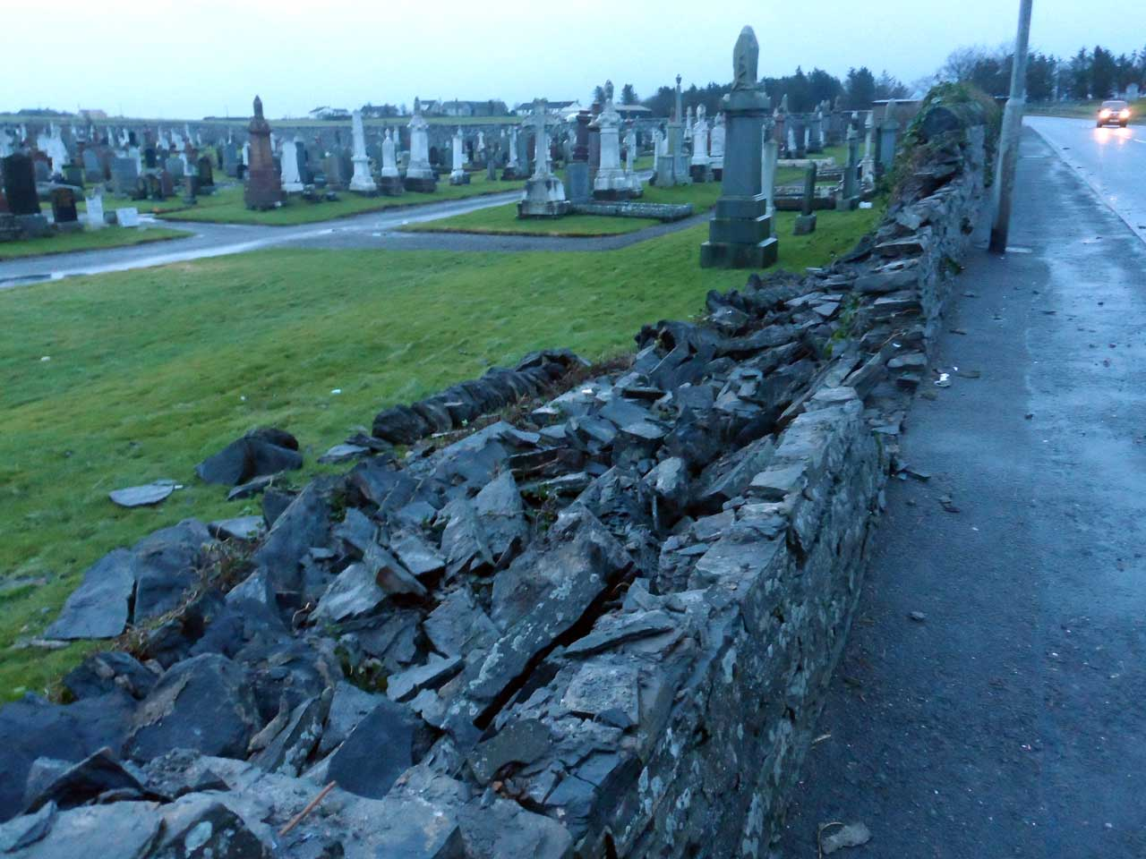 Photo: Wick Cemetery Wall Blown Down