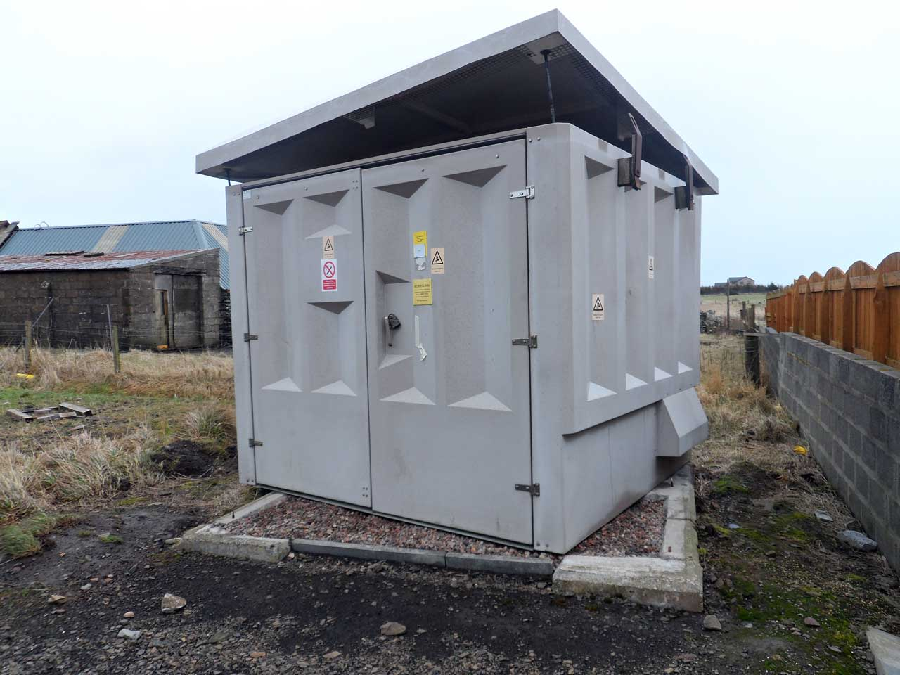 Photo: Electricity Sub-Station Blown off Base In Wick