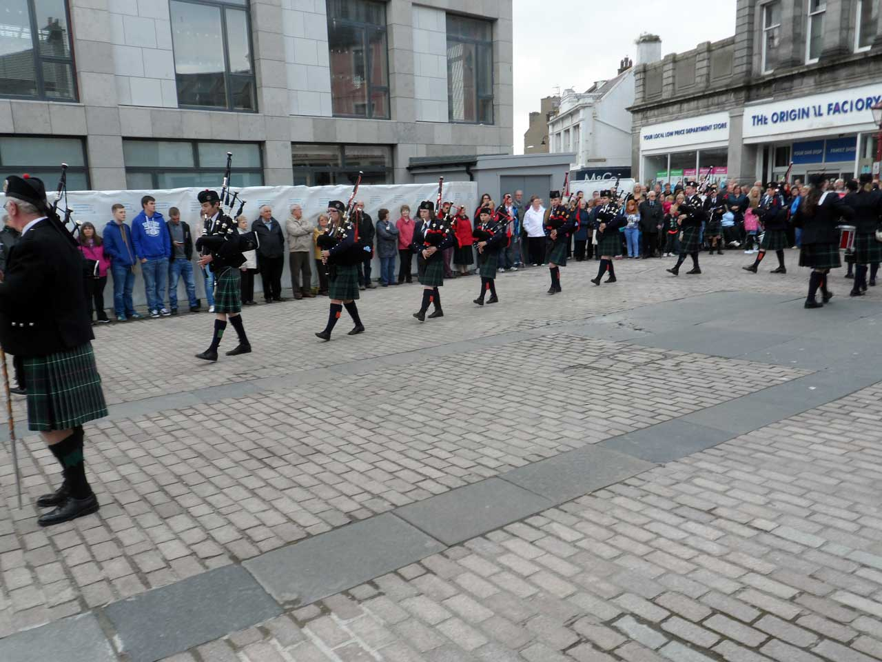 Photo: Massed Pipe Bands At Market Square, Wick