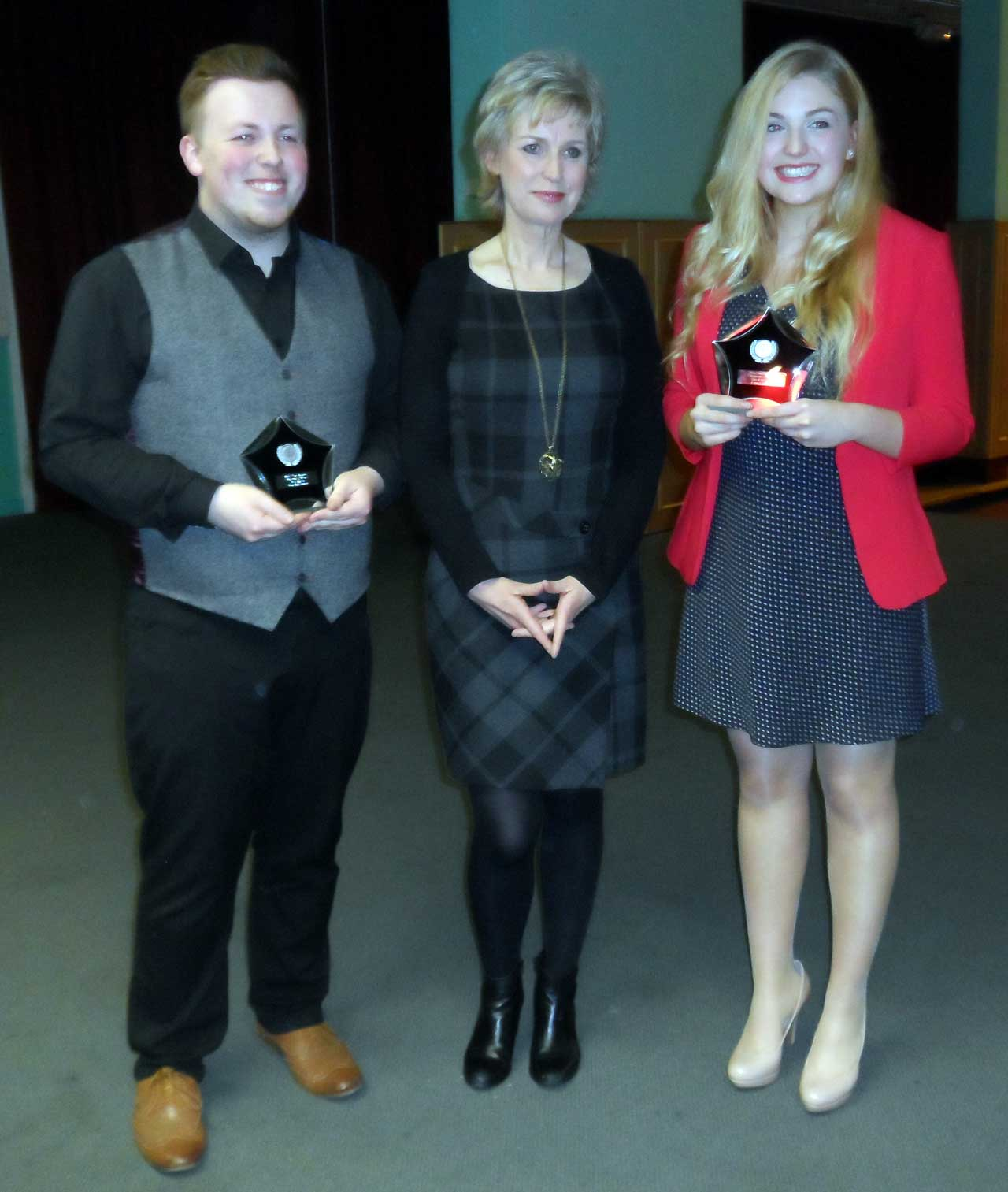 Photo: Sean MacGregor Best Actor & Abigail Jolly Best Actress With Sally Magnusson