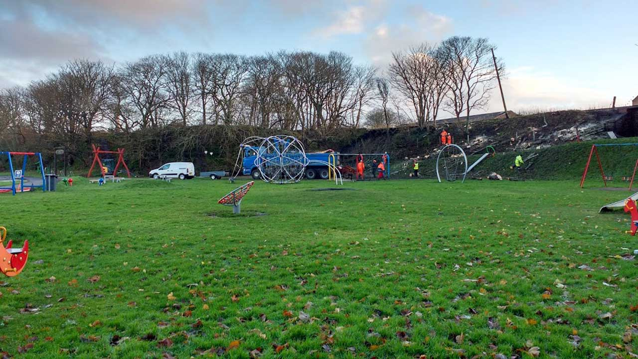 Photo: Work To Make Safe Embankment Collapse Play Park, Wick