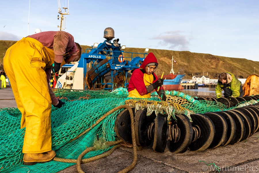 Photo: Mending Nets on Fishing Boat Revival at Scrabster
