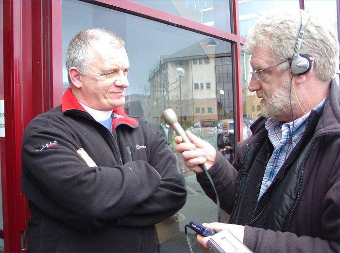 Photo: Rev Stvie Thomson Interviewed For BBC Radio After Stating There May Be A Case Under Human Rights Legislation