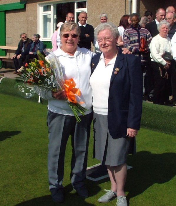 Photo: Bowling Club President's Wife Carmen Dable Presented With Flowers To Mark 2005 Season