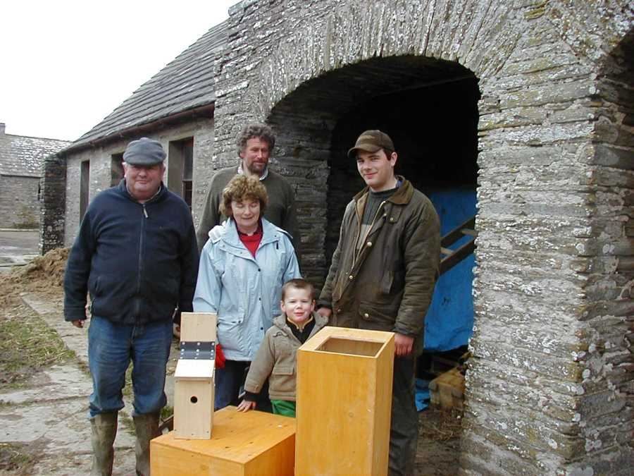 Photo: Murray Family from Borgie Farm Receiving Barn Owl Boxes from David Watt
