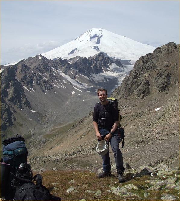 Photo: Bob Kerr, Assynt Mountain Rescue Team, with Elbrus behind