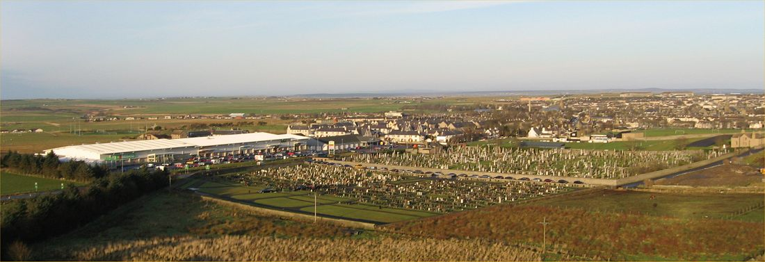 Photo: Looking Over Wick - Cemetery and New Shopping Complex