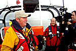 Thurso Lifeboat with the BBC reporter and cameraman on board