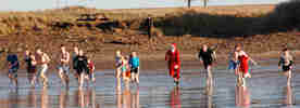New Year Plunge for Memebrs of the church of Latter Day Saints At Dunnet Beach
