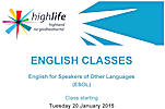 Egnlsih Classes Start 20 January 2015 in Wick