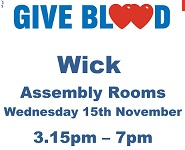 Give Blood Wednesday 15th Novermber 2017