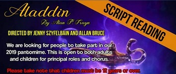 wick Players invite adults and children to a scipt reading for Aladdin